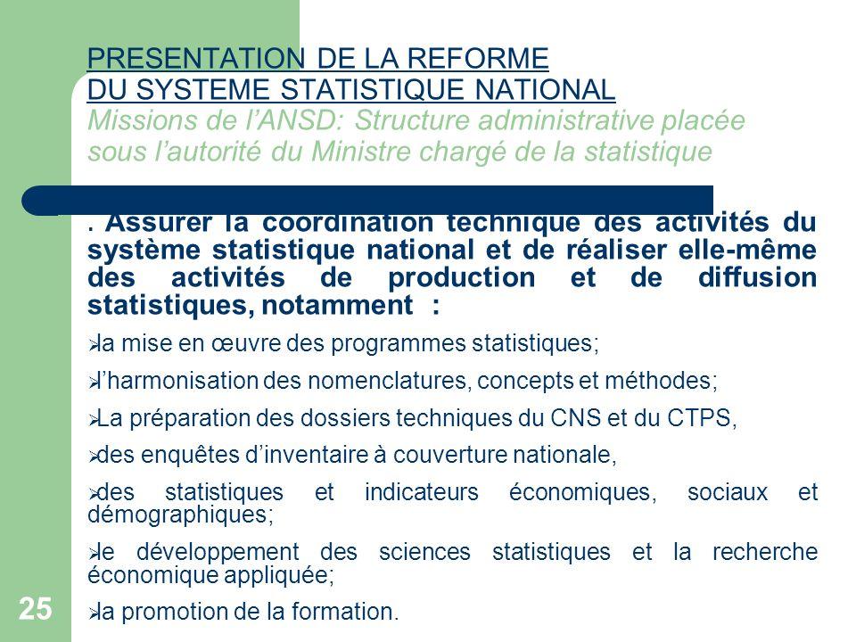 25 PRESENTATION DE LA REFORME DU SYSTEME STATISTIQUE NATIONAL PRESENTATION DE LA REFORME DU SYSTEME STATISTIQUE NATIONAL Missions de lANSD: Structure
