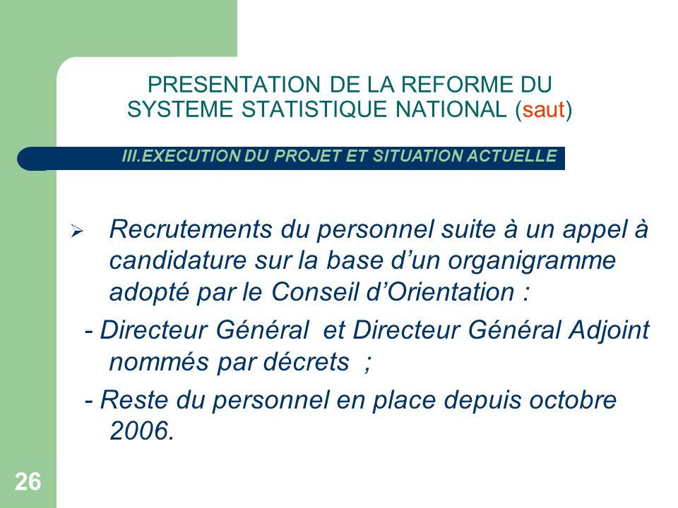 26 PRESENTATION DE LA REFORME DU SYSTEME STATISTIQUE NATIONAL (saut) Recrutements du personnel suite à un appel à candidature sur la base dun organigr