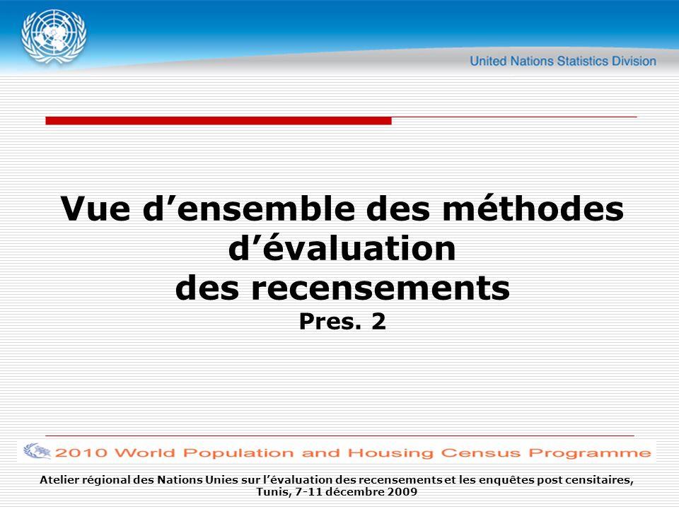 Atelier régional des Nations Unies sur lévaluation des recensements et les enquêtes post censitaires, Tunis, 7-11 décembre 2009 Vue densemble des méthodes dévaluation des recensements Pres.