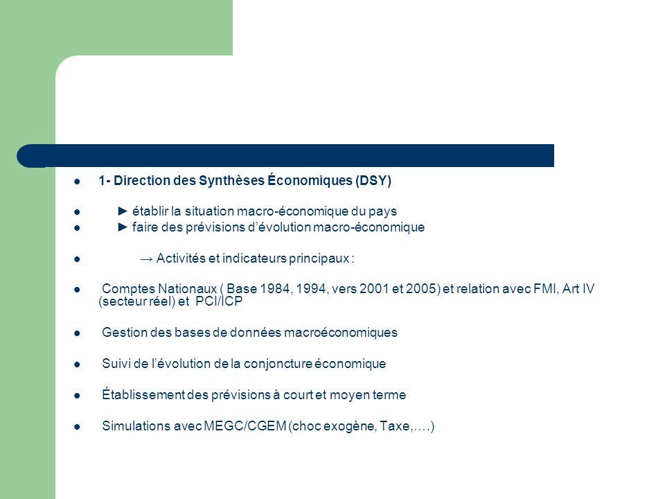 1- Direction des Synthèses Économiques (DSY) établir la situation macro-économique du pays faire des prévisions dévolution macro-économique Activités et indicateurs principaux : Comptes Nationaux ( Base 1984, 1994, vers 2001 et 2005) et relation avec FMI, Art IV (secteur réel) et PCI/ICP Gestion des bases de données macroéconomiques Suivi de lévolution de la conjoncture économique Établissement des prévisions à court et moyen terme Simulations avec MEGC/CGEM (choc exogène, Taxe,….)