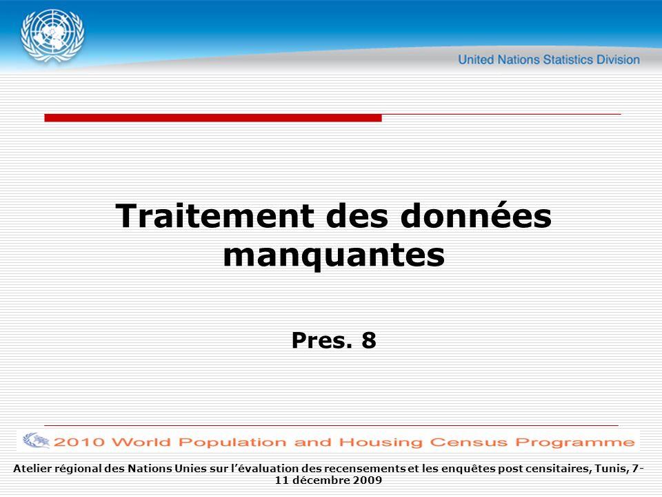 Atelier régional des Nations Unies sur lévaluation des recensements et les enquêtes post censitaires, Tunis, 7- 11 décembre 2009 Traitement des données manquantes Pres.