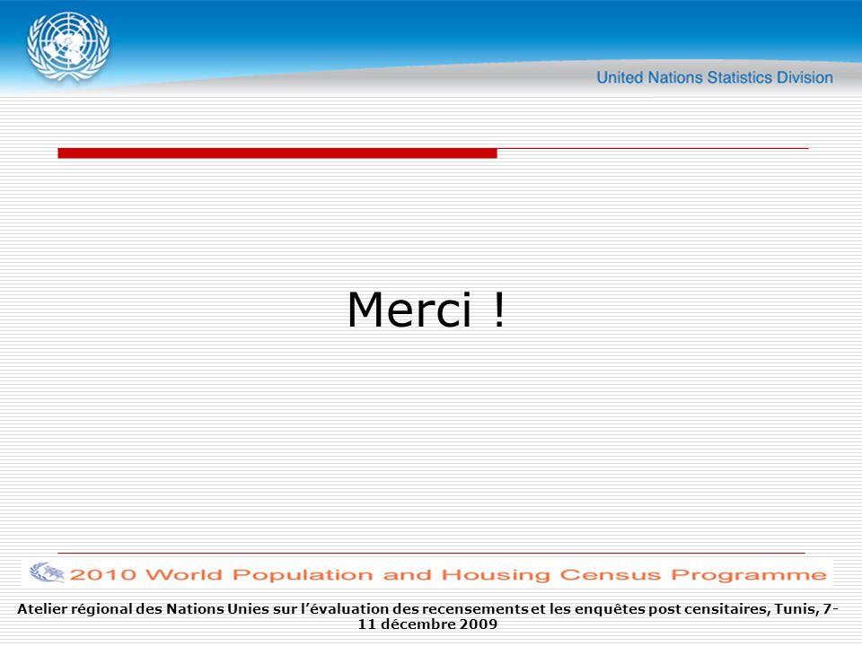 Atelier régional des Nations Unies sur lévaluation des recensements et les enquêtes post censitaires, Tunis, 7- 11 décembre 2009 Merci !
