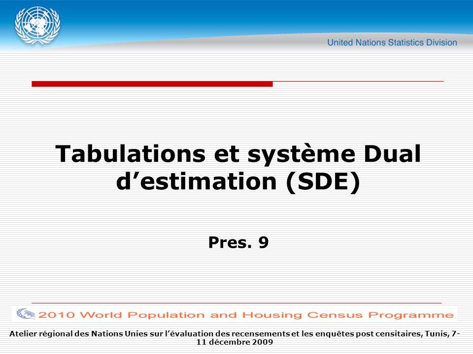 Atelier régional des Nations Unies sur lévaluation des recensements et les enquêtes post censitaires, Tunis, 7- 11 décembre 2009 Tabulations et système Dual destimation (SDE) Pres.