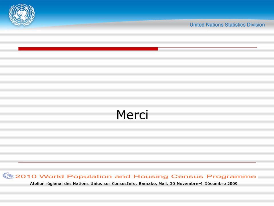 Atelier régional des Nations Unies sur CensusInfo, Bamako, Mali, 30 Novembre-4 Décembre 2009 Merci