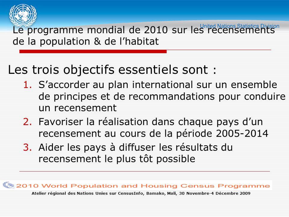 Atelier régional des Nations Unies sur CensusInfo, Bamako, Mali, 30 Novembre-4 Décembre 2009 Le programme mondial de 2010 sur les recensements de la population & de lhabitat Les trois objectifs essentiels sont : 1.Saccorder au plan international sur un ensemble de principes et de recommandations pour conduire un recensement 2.Favoriser la réalisation dans chaque pays dun recensement au cours de la période 2005-2014 3.Aider les pays à diffuser les résultats du recensement le plus tôt possible