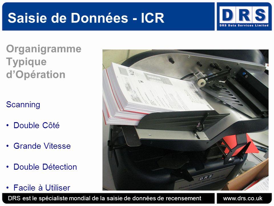 Saisie de Données - ICR DRS est le spécialiste mondial de la saisie de données de recensement www.drs.co.uk Organigramme Typique dOpération Scanning Double Côté Grande Vitesse Double Détection Facile à Utiliser