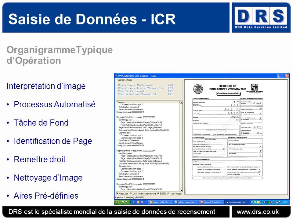 Saisie de Données - ICR DRS est le spécialiste mondial de la saisie de données de recensement www.drs.co.uk OrganigrammeTypique dOpération Interprétation dimage Processus Automatisé Tâche de Fond Identification de Page Remettre droit Nettoyage dImage Aires Pré-définies