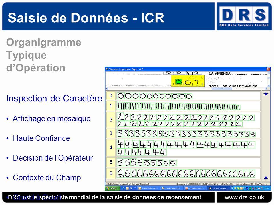 Saisie de Données - ICR DRS est le spécialiste mondial de la saisie de données de recensement www.drs.co.uk Organigramme Typique dOpération Inspection de Caractère Affichage en mosaique Haute Confiance Décision de lOpérateur Contexte du Champ Grand à Court
