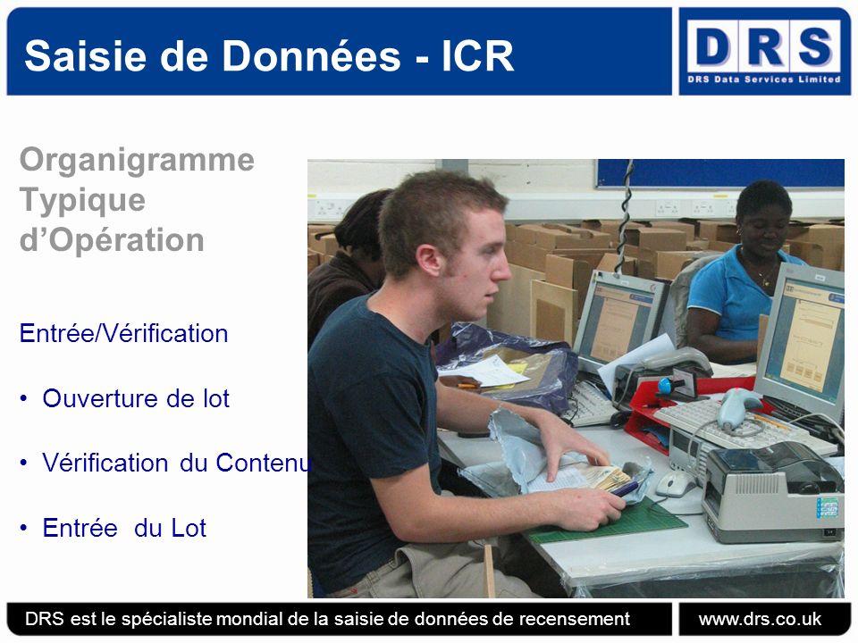 Saisie de Données - ICR Organigramme Typique dOpération ICR DRS est le spécialiste mondial de la saisie de données de recensement www.drs.co.uk