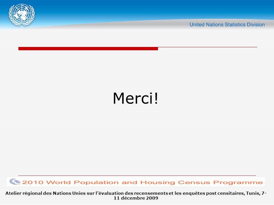 Atelier régional des Nations Unies sur lévaluation des recensements et les enquêtes post censitaires, Tunis, 7- 11 décembre 2009 Merci!