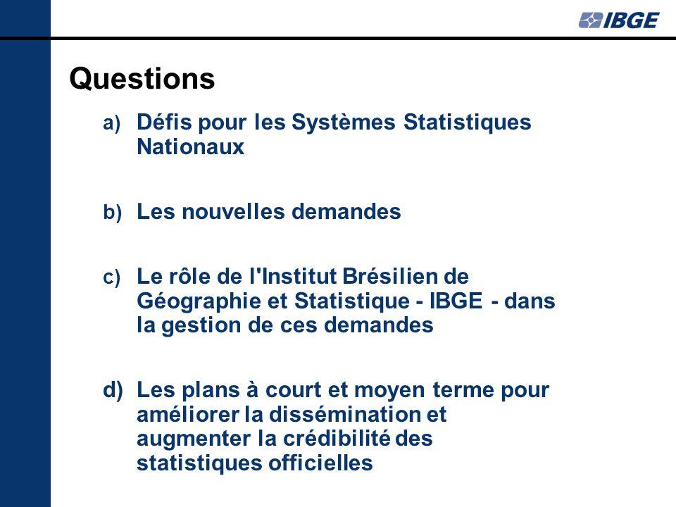 Première question: Quels sont les défis dans la gestion de Systèmes Statistiques Nationaux?