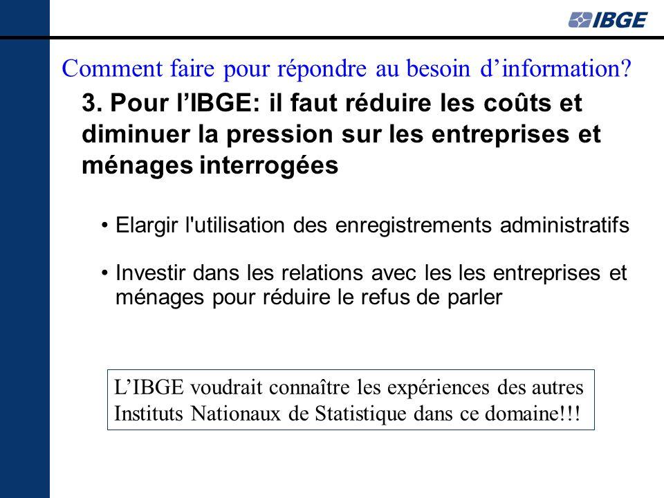 3. Pour lIBGE: il faut réduire les coûts et diminuer la pression sur les entreprises et ménages interrogées Elargir l'utilisation des enregistrements