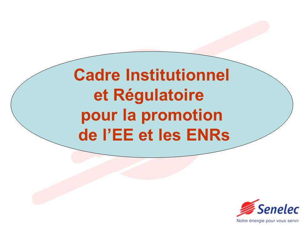 Cadre Institutionnel et Régulatoire pour la promotion de lEE et les ENRs