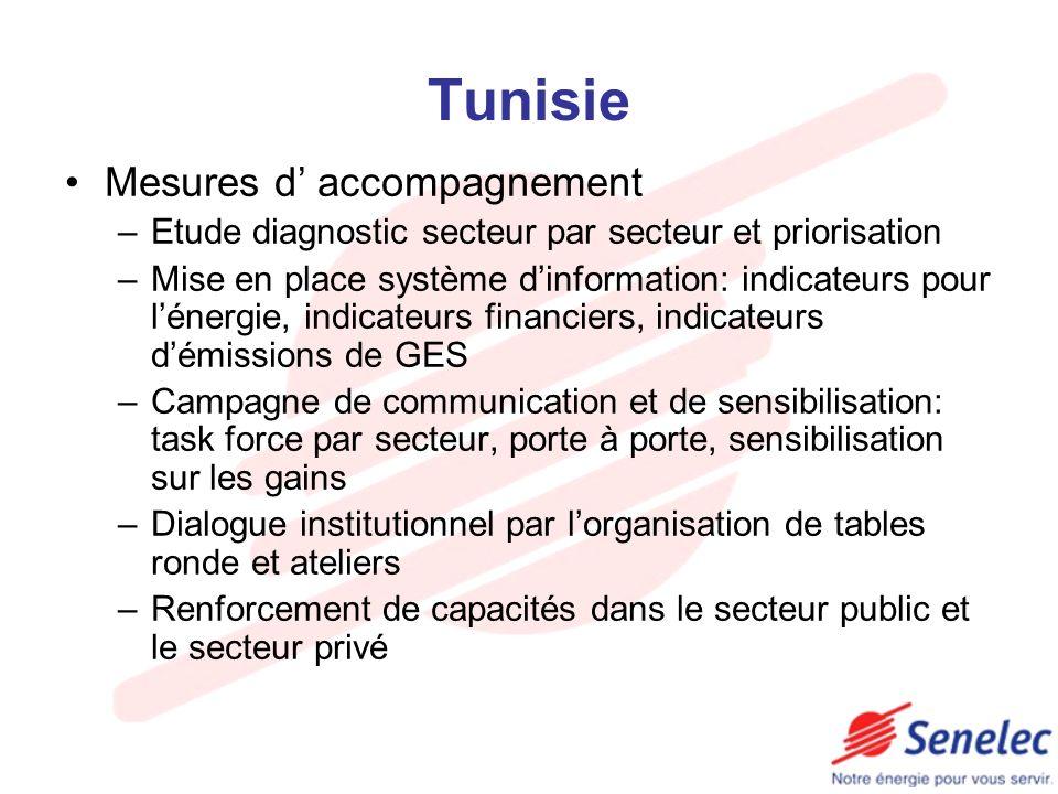 Tunisie Mesures d accompagnement –Etude diagnostic secteur par secteur et priorisation –Mise en place système dinformation: indicateurs pour lénergie,