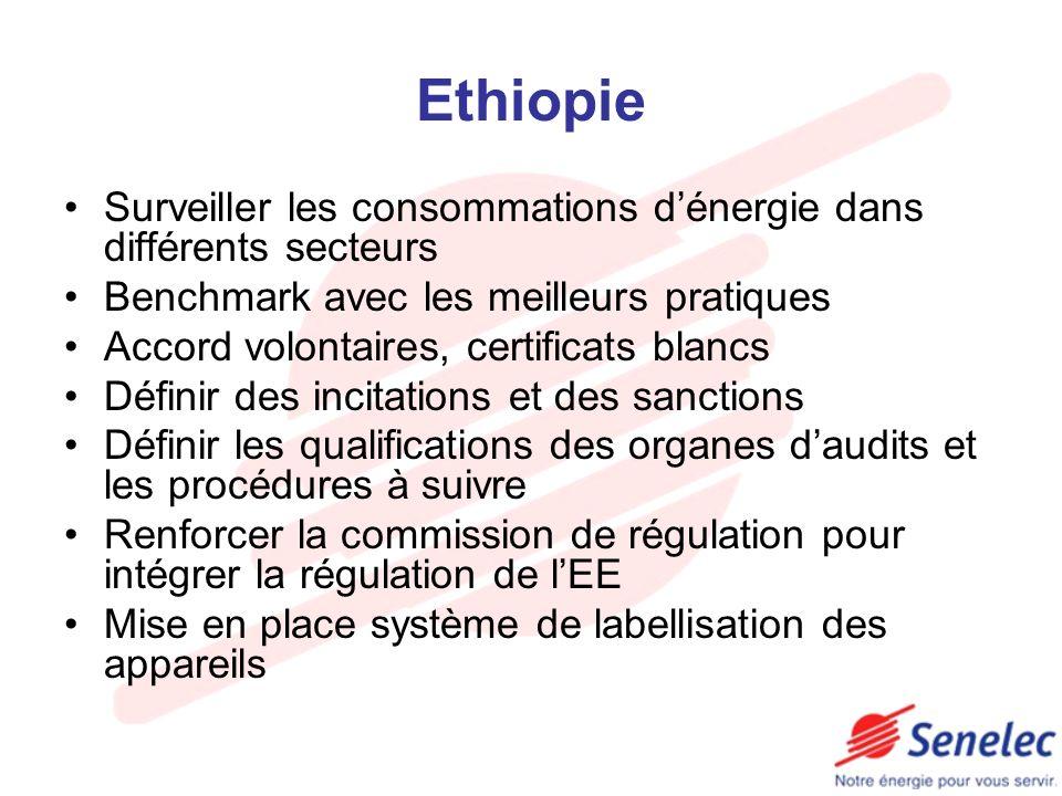 Ethiopie Surveiller les consommations dénergie dans différents secteurs Benchmark avec les meilleurs pratiques Accord volontaires, certificats blancs