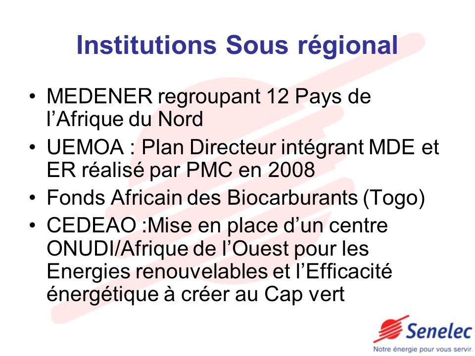 Institutions Sous régional MEDENER regroupant 12 Pays de lAfrique du Nord UEMOA : Plan Directeur intégrant MDE et ER réalisé par PMC en 2008 Fonds Afr