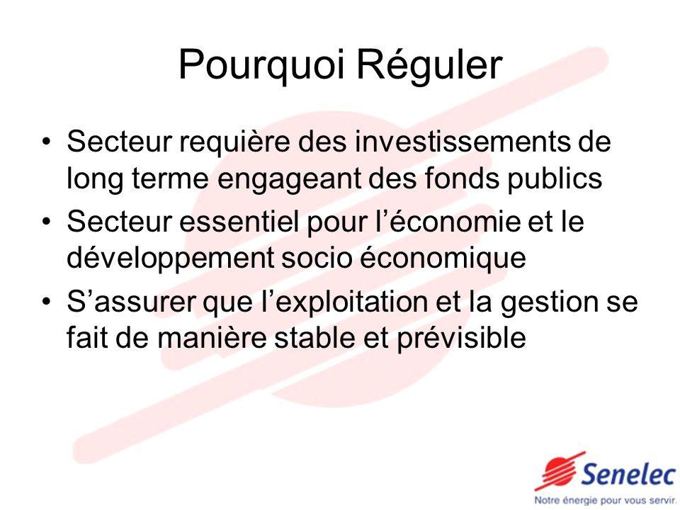 Pourquoi Réguler Secteur requière des investissements de long terme engageant des fonds publics Secteur essentiel pour léconomie et le développement s