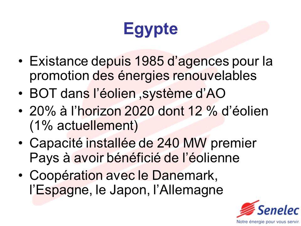 Egypte Existance depuis 1985 dagences pour la promotion des énergies renouvelables BOT dans léolien,système dAO 20% à lhorizon 2020 dont 12 % déolien