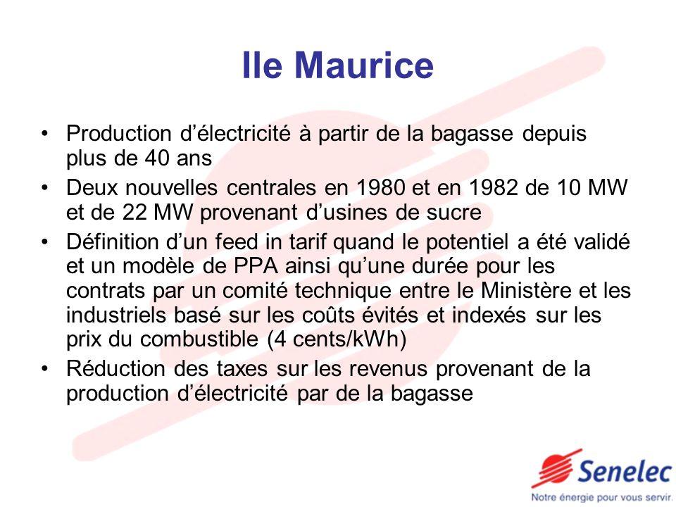 Ile Maurice Production délectricité à partir de la bagasse depuis plus de 40 ans Deux nouvelles centrales en 1980 et en 1982 de 10 MW et de 22 MW prov