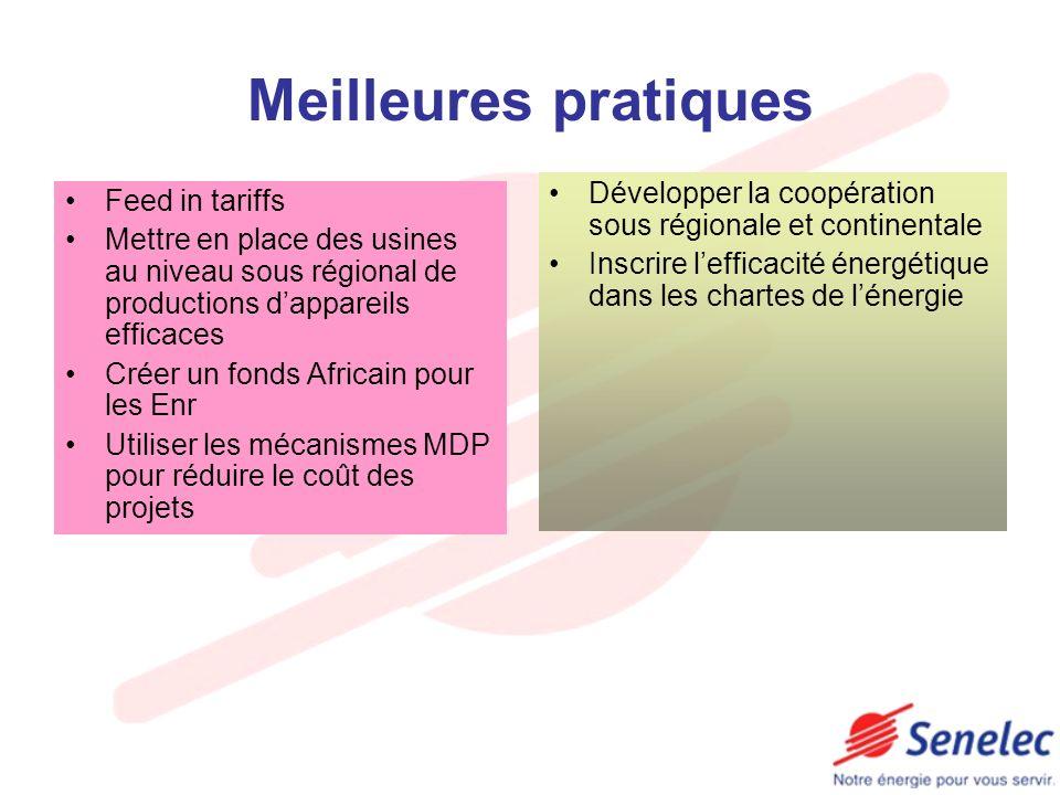 Meilleures pratiques Feed in tariffs Mettre en place des usines au niveau sous régional de productions dappareils efficaces Créer un fonds Africain po