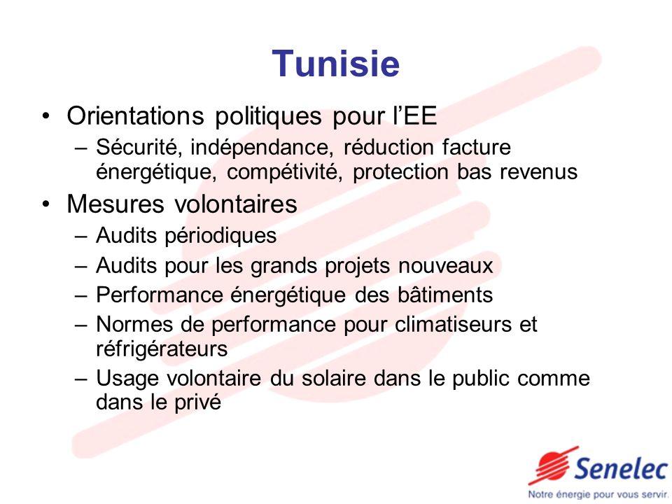 Maroc Loi cadre EE et ER énonçant les principes généraux (labellisation, réglementation type, incitations fiscales et financières, audits) Création de lAgence des énergies renouvelables et de lefficacité énergétique et de lAgence marocaine de lénergie solaire Fonds de financement pour soutenir programme EE et ER Encouragement auto production 10-50 MW Circulaire premier Ministre sur lEE PNDERE à lhorizon 2012: réduction 10% bilan énergétique et 20% production, création emplois Projet renforcement CDRE en Agence Mesures fiscales (réduction TVA de 20% à 14%)