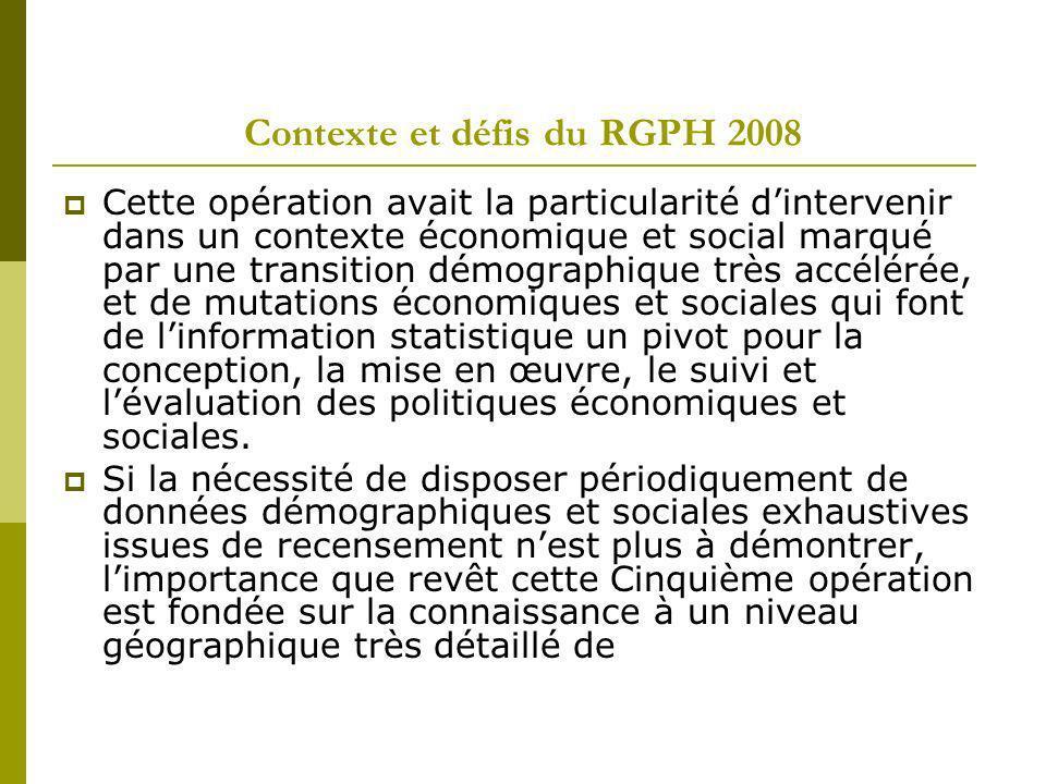 Contexte et défis du RGPH 2008 Cette opération avait la particularité dintervenir dans un contexte économique et social marqué par une transition démo