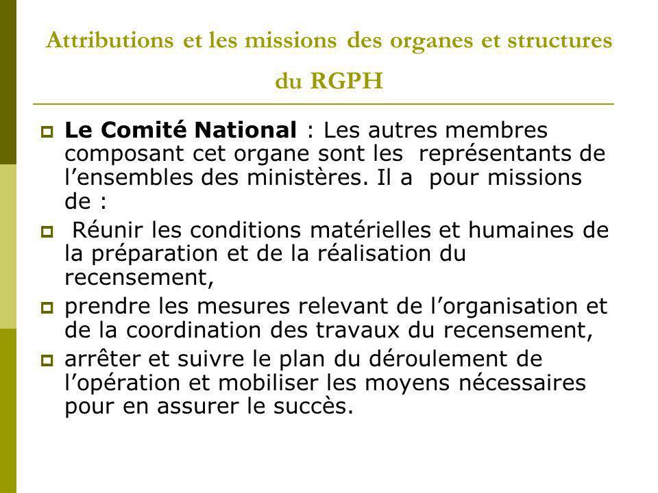 Attributions et les missions des organes et structures du RGPH Le Comité de Wilaya (Département) : dont les autres membres sont constitués des responsables au niveau de la Wilaya des ministères représentés au comité national.