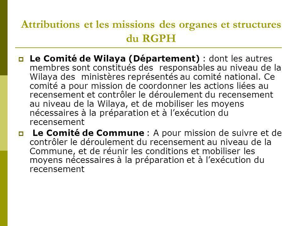 Attributions et les missions des organes et structures du RGPH Le Comité de Wilaya (Département) : dont les autres membres sont constitués des respons