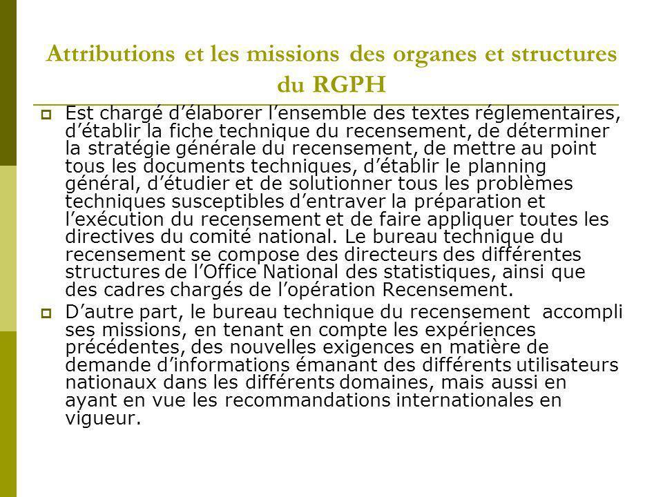 Attributions et les missions des organes et structures du RGPH Est chargé délaborer lensemble des textes réglementaires, détablir la fiche technique d