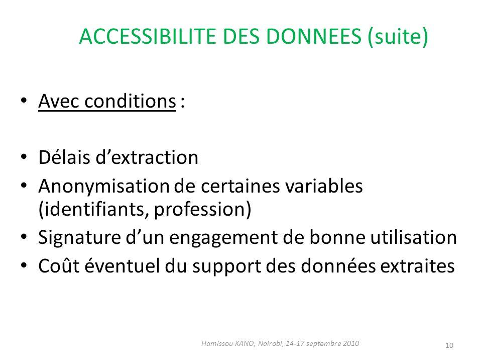 ACCESSIBILITE DES DONNEES (suite) Avec conditions : Délais dextraction Anonymisation de certaines variables (identifiants, profession) Signature dun e