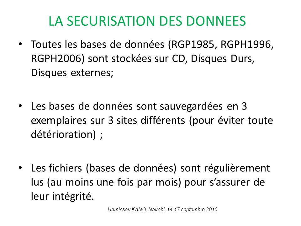 LA SECURISATION DES DONNEES Toutes les bases de données (RGP1985, RGPH1996, RGPH2006) sont stockées sur CD, Disques Durs, Disques externes; Les bases
