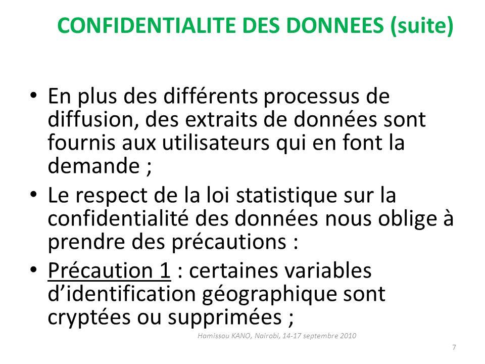 CONFIDENTIALITE DES DONNEES (suite) En plus des différents processus de diffusion, des extraits de données sont fournis aux utilisateurs qui en font l