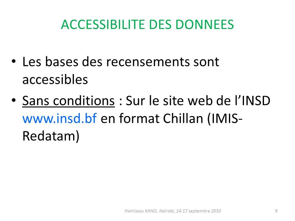 ACCESSIBILITE DES DONNEES Les bases des recensements sont accessibles Sans conditions : Sur le site web de lINSD www.insd.bf en format Chillan (IMIS-