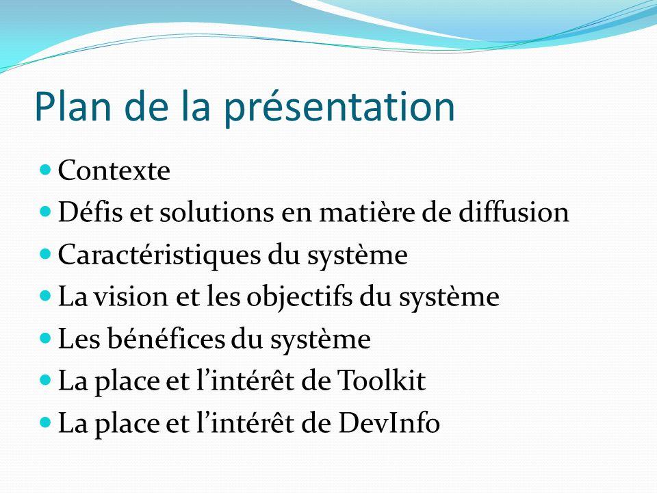 Plan de la présentation Contexte Défis et solutions en matière de diffusion Caractéristiques du système La vision et les objectifs du système Les béné