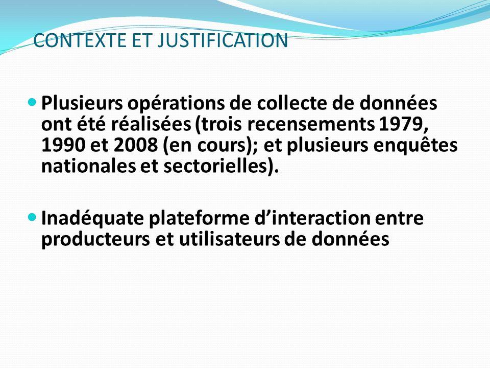 Plusieurs opérations de collecte de données ont été réalisées (trois recensements 1979, 1990 et 2008 (en cours); et plusieurs enquêtes nationales et s