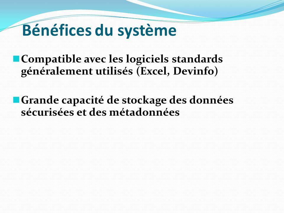 Bénéfices du système Compatible avec les logiciels standards généralement utilisés (Excel, Devinfo) Grande capacité de stockage des données sécurisées
