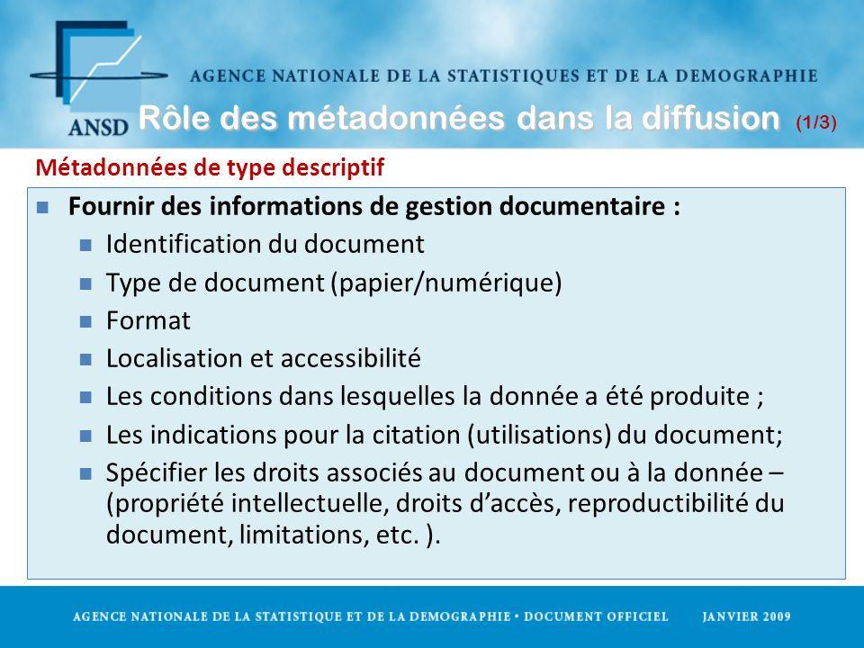 Rôle des métadonnées dans la diffusion Rôle des métadonnées dans la diffusion (1/3) Métadonnées de type descriptif n Fournir des informations de gesti
