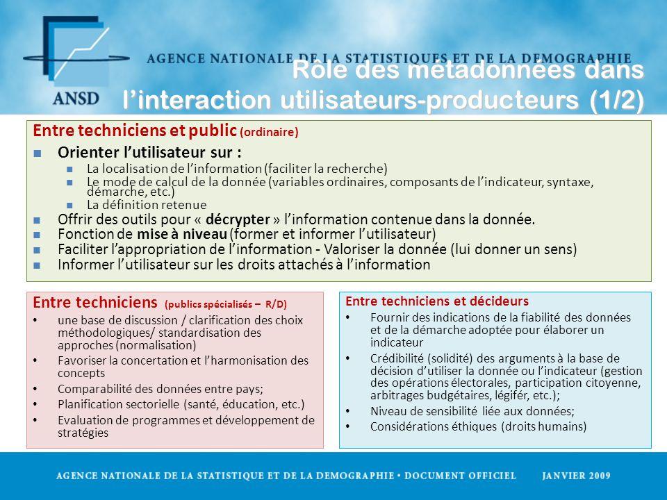 Rôle des métadonnées dans linteraction utilisateurs-producteurs (1/2) Entre techniciens (publics spécialisés – R/D) une base de discussion / clarifica