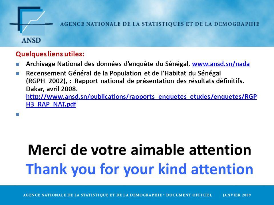 Merci de votre aimable attention Thank you for your kind attention Quelques liens utiles: n Archivage National des données denquête du Sénégal, www.an