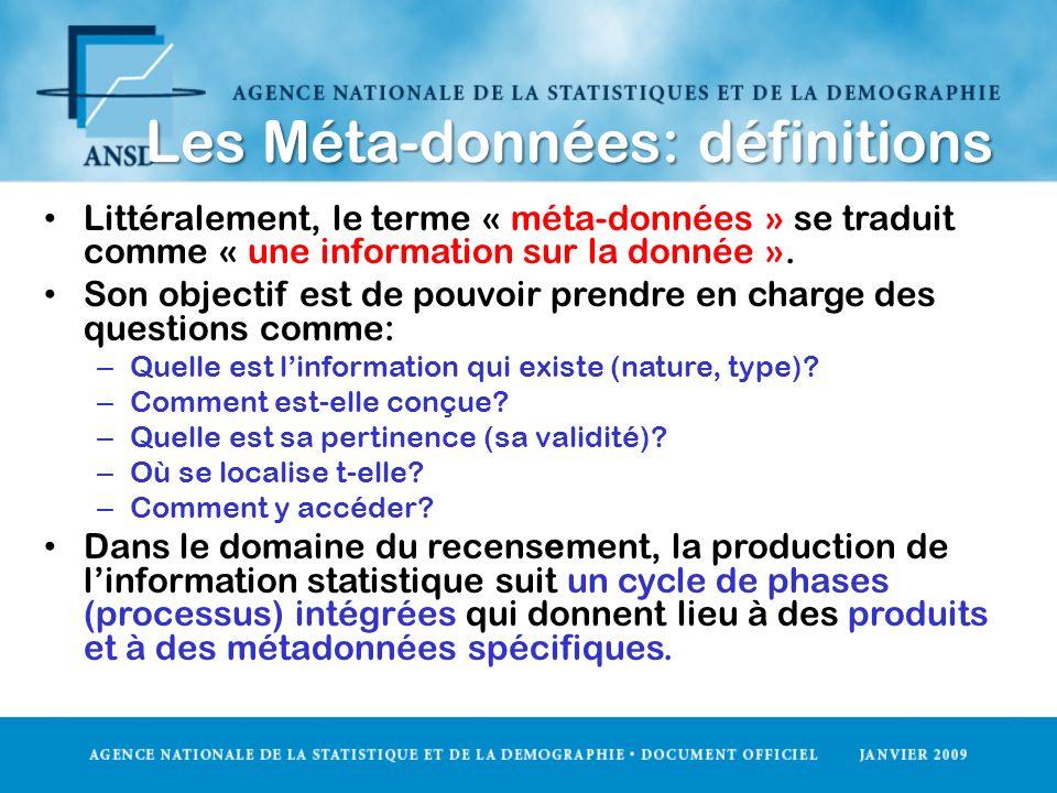 Les Méta-données: définitions Littéralement, le terme « méta-données » se traduit comme « une information sur la donnée ». Son objectif est de pouvoir