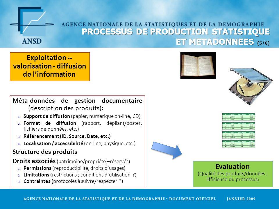 PROCESSUS DE PRODUCTION STATISTIQUE ET METADONNEES PROCESSUS DE PRODUCTION STATISTIQUE ET METADONNEES (5/6) Exploitation -- valorisation - diffusion d