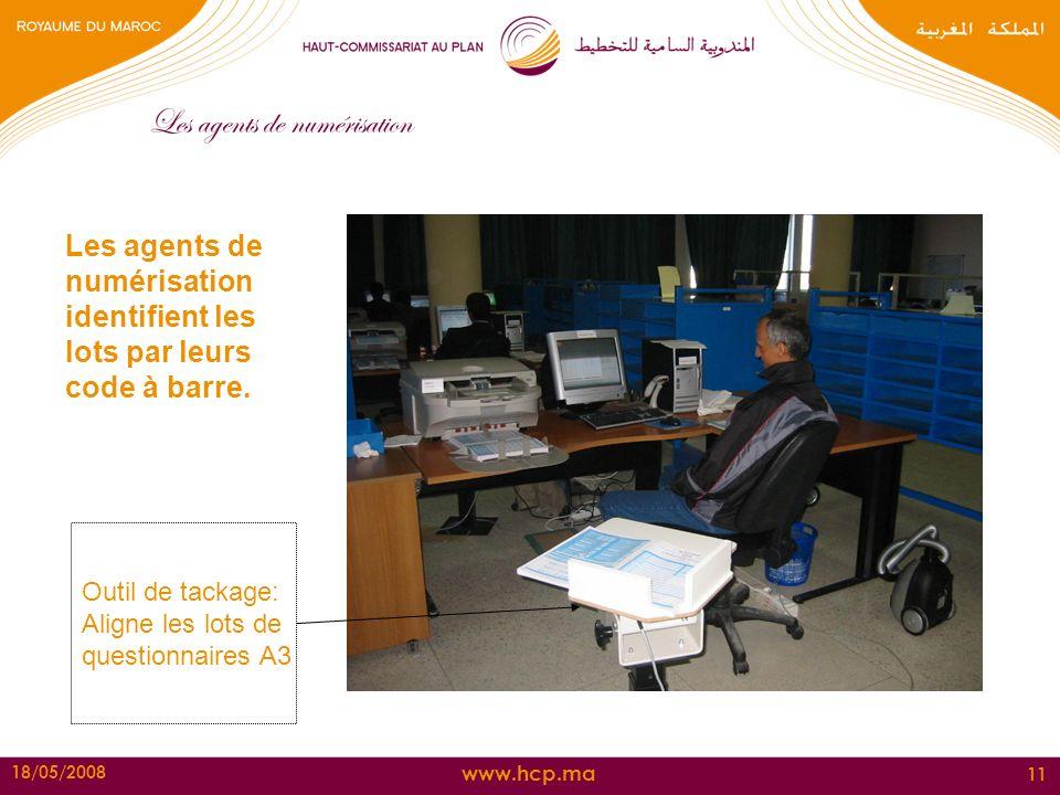 www.hcp.ma 18/05/2008 11 Les agents de numérisation identifient les lots par leurs code à barre. Outil de tackage: Aligne les lots de questionnaires A