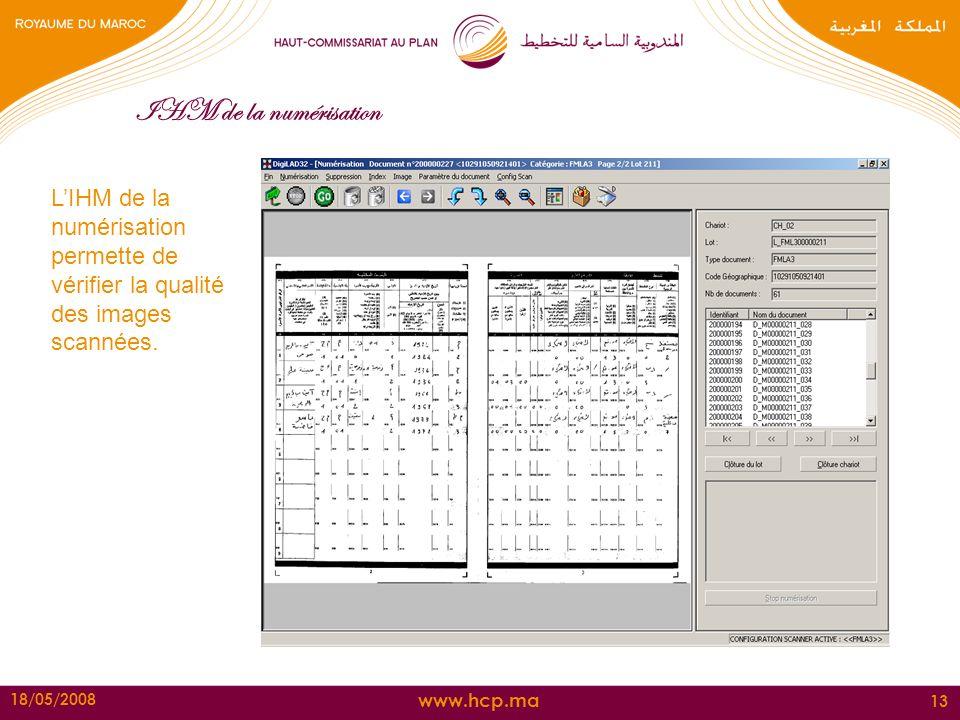 www.hcp.ma 18/05/2008 13 IHM de la numérisation LIHM de la numérisation permette de vérifier la qualité des images scannées.