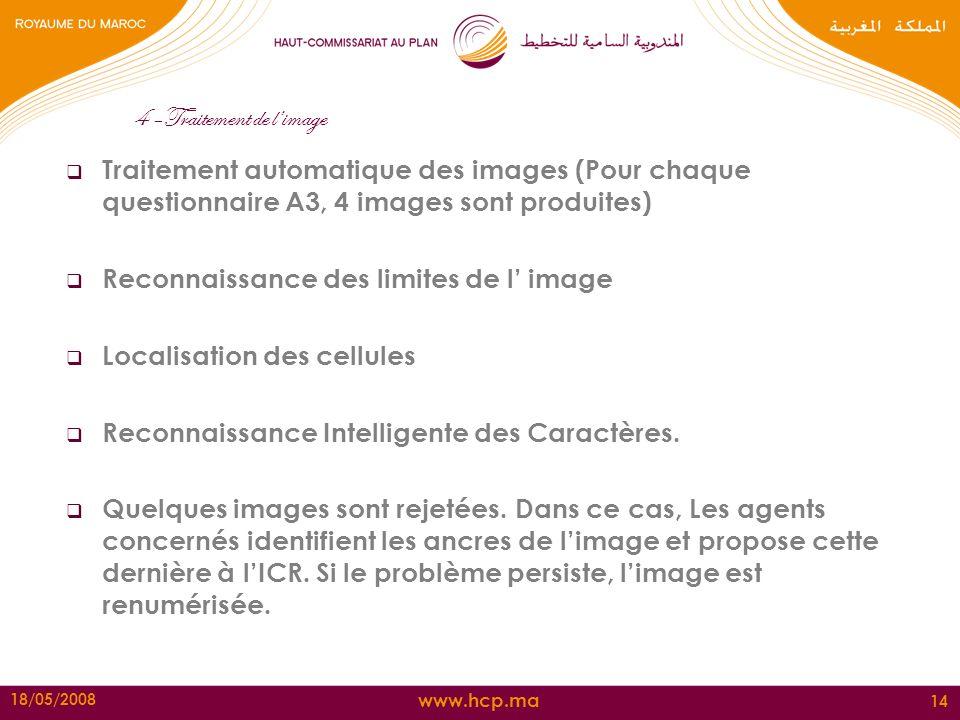 www.hcp.ma 18/05/2008 14 4 –Traitement de limage Traitement automatique des images (Pour chaque questionnaire A3, 4 images sont produites) Reconnaissa