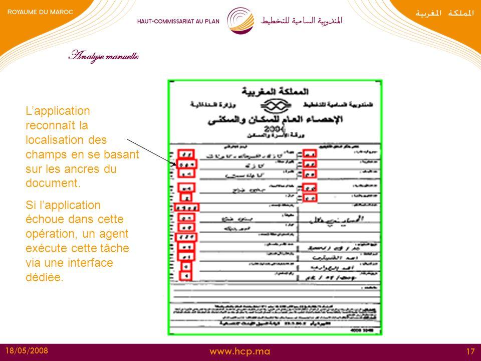 www.hcp.ma 18/05/2008 17 Analyse manuelle Lapplication reconnaît la localisation des champs en se basant sur les ancres du document. Si lapplication é