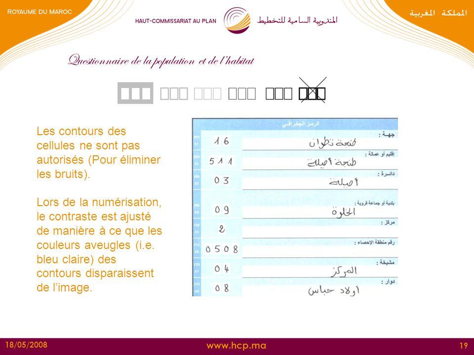 www.hcp.ma 18/05/2008 19 Questionnaire de la population et de lhabitat Les contours des cellules ne sont pas autorisés (Pour éliminer les bruits). Lor