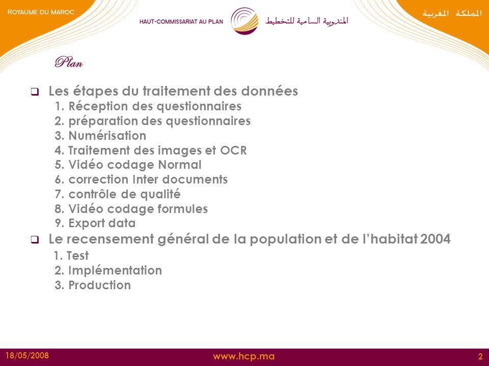 www.hcp.ma 18/05/2008 2 Plan Les étapes du traitement des données 1. Réception des questionnaires 2. préparation des questionnaires 3. Numérisation 4.