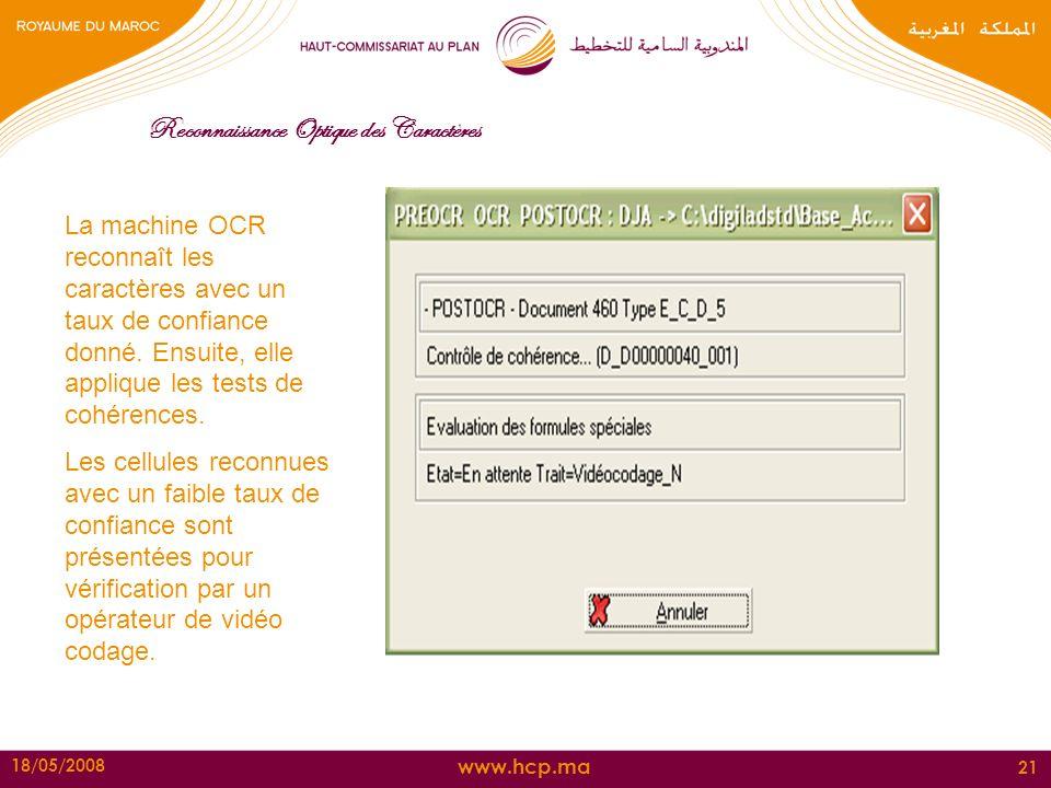 www.hcp.ma 18/05/2008 21 Reconnaissance Optique des Caractères La machine OCR reconnaît les caractères avec un taux de confiance donné. Ensuite, elle
