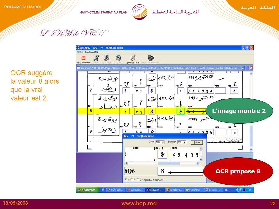www.hcp.ma 18/05/2008 23 LIHM de VCN OCR suggère la valeur 8 alors que la vrai valeur est 2. OCR propose 8 Limage montre 2