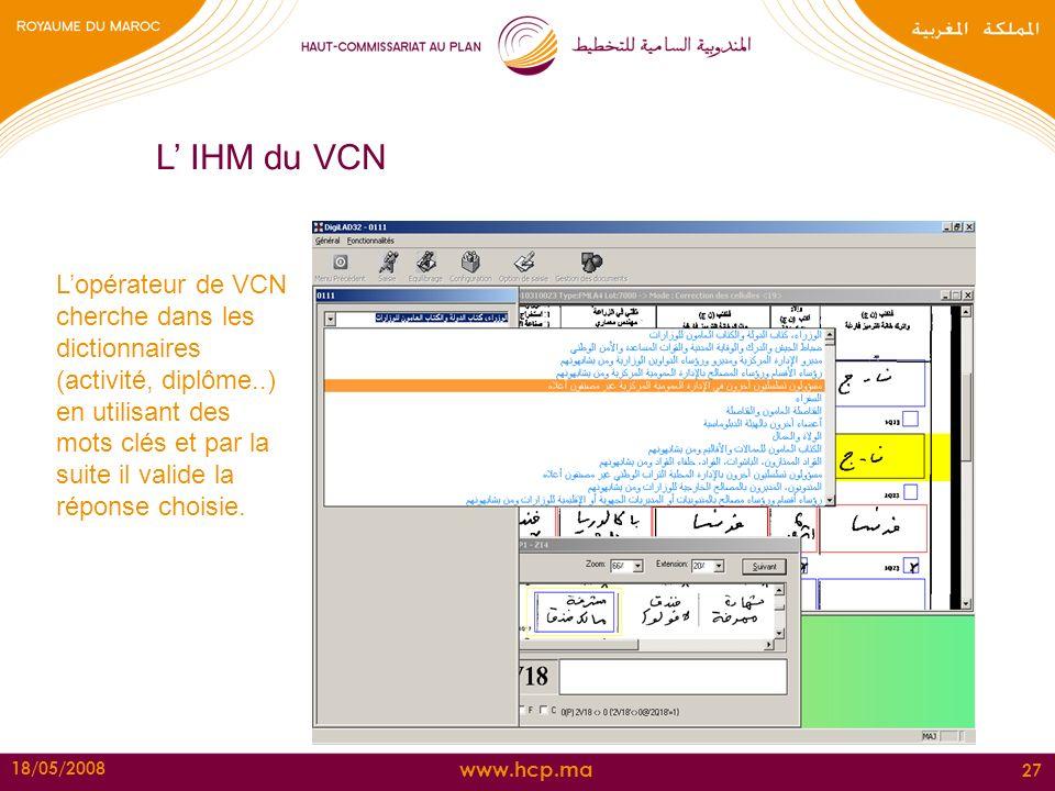 www.hcp.ma 18/05/2008 27 L IHM du VCN Lopérateur de VCN cherche dans les dictionnaires (activité, diplôme..) en utilisant des mots clés et par la suit